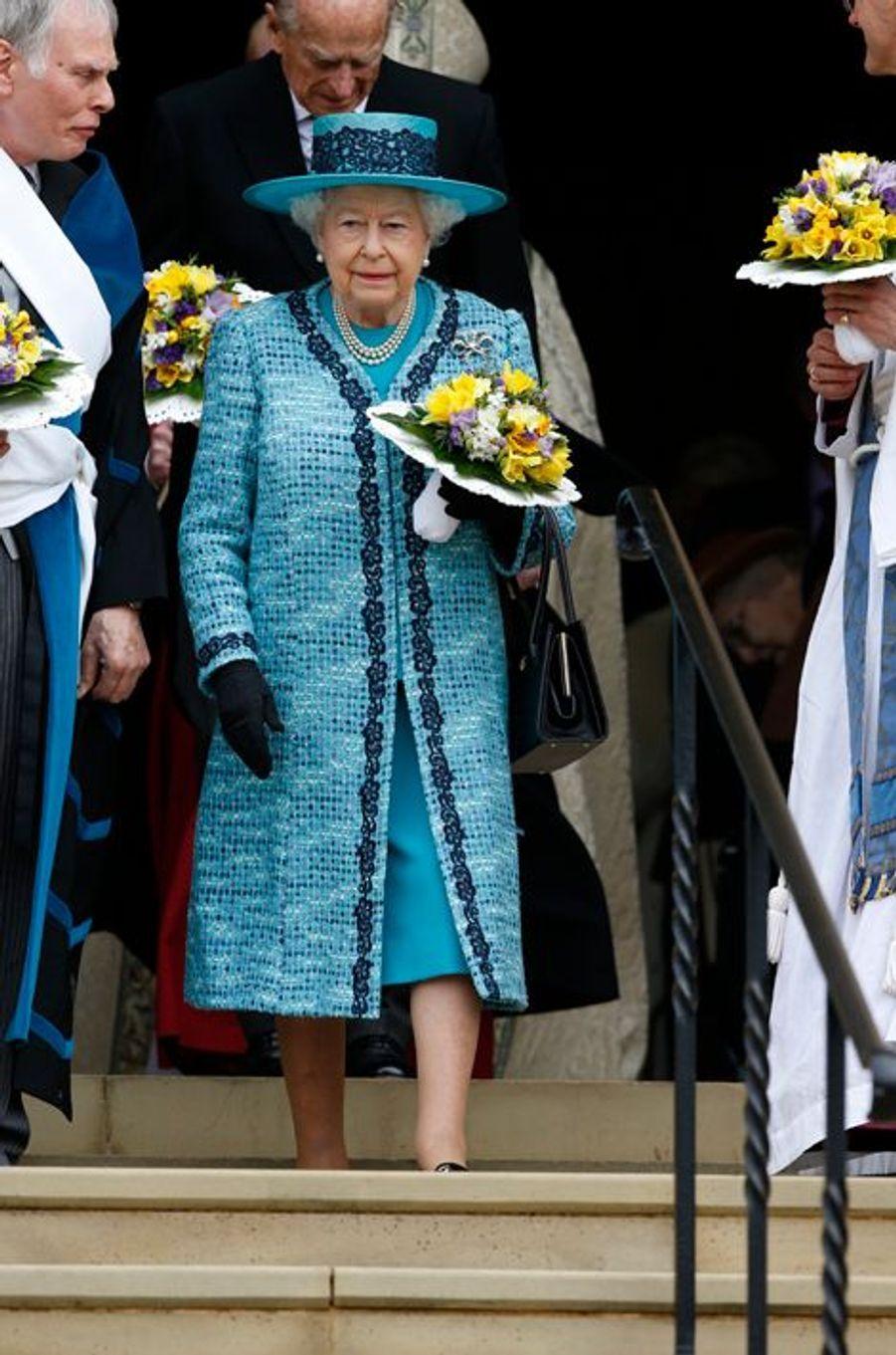 La reine Elizabeth II et le prince Philip au Maundy Service du Jeudi saint à Windsor, le 24 mars 2016