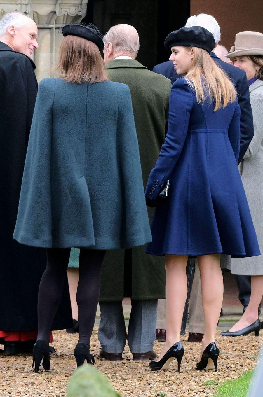 Les princesses Eugenie et Beatrice d'York à Castle Rising, le 21 janvier 2018