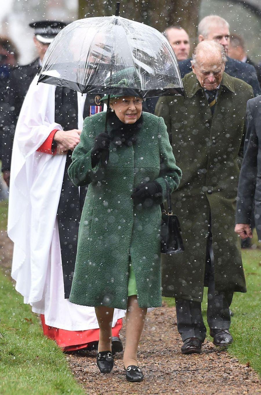 La reine Elizabeth II et le prince Philip à Castle Rising, le 21 janvier 2018