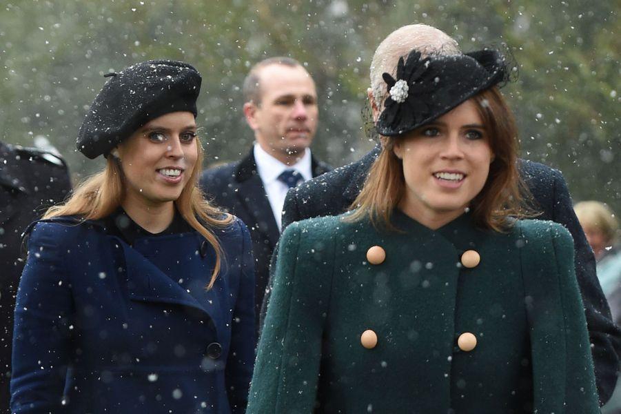 Les princesses Beatrice et Eugenie d'York à Castle Rising, le 21 janvier 2018