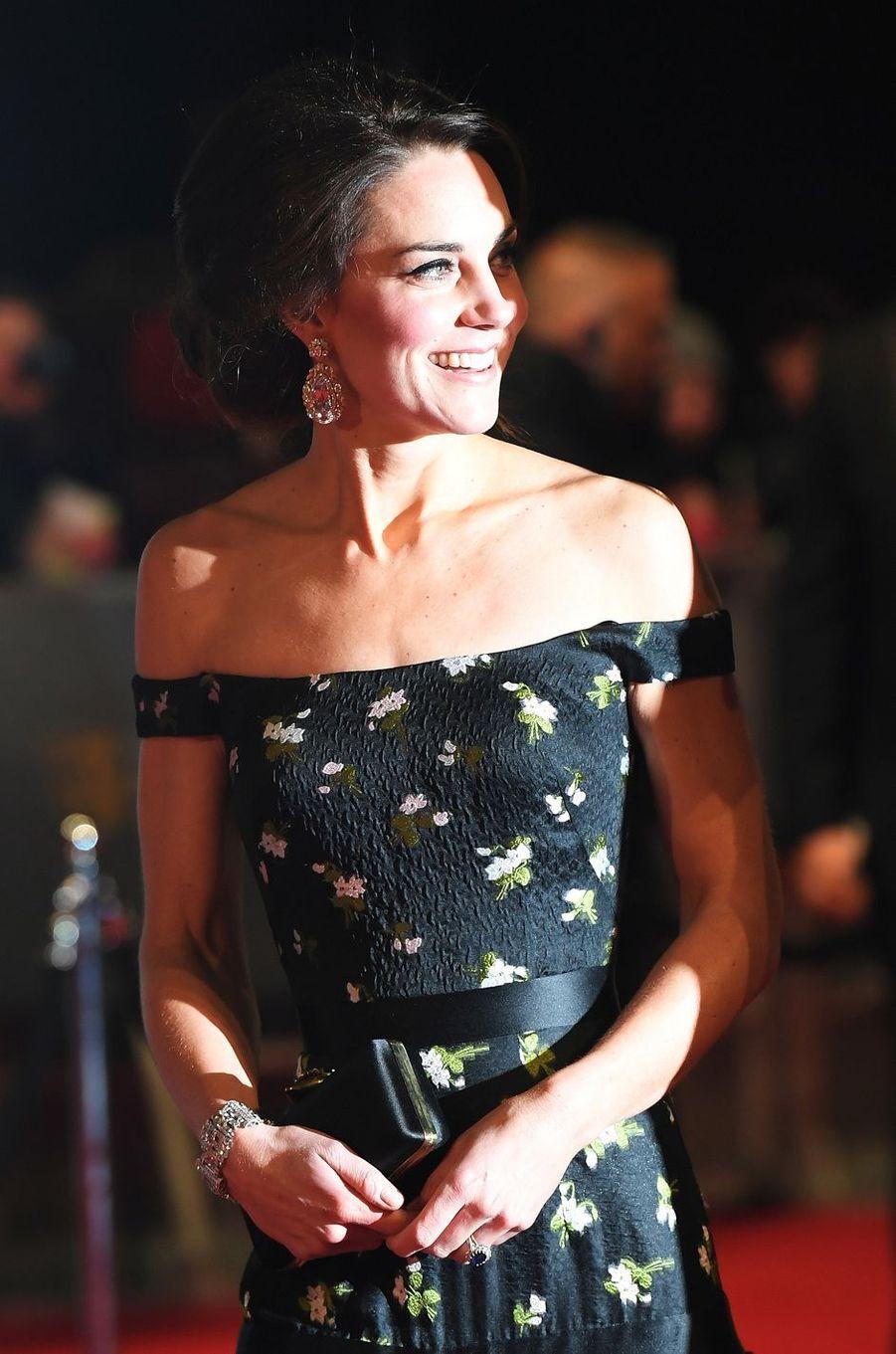 La duchesse de Cambridge, née Kate Middleton, à Londres, le 12 février 2017