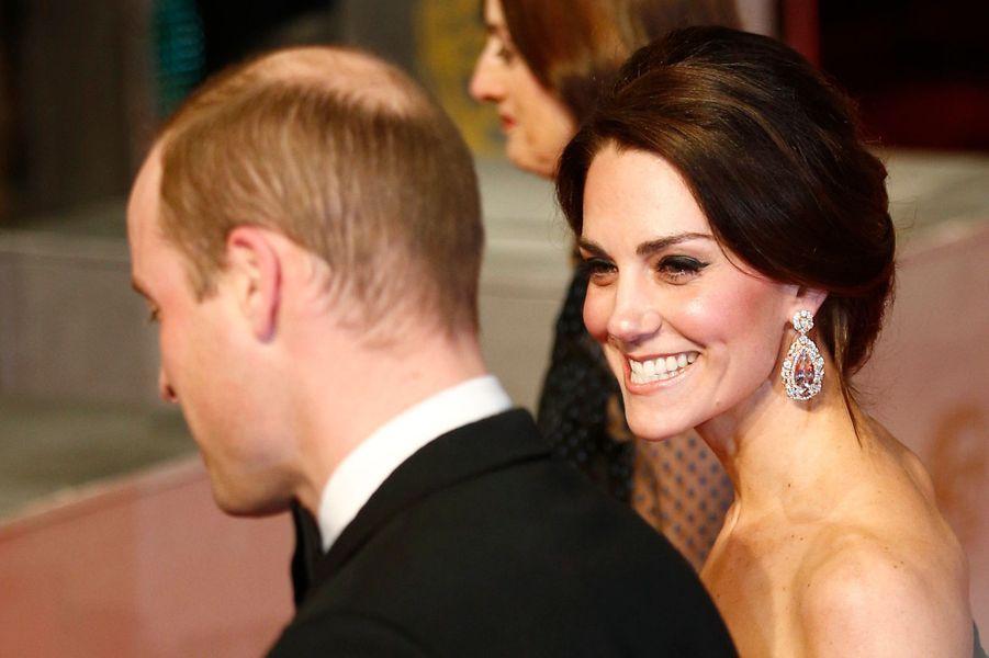 La duchesse de Cambridge, née Kate Middleton, et le prince William à Londres, le 12 février 2017