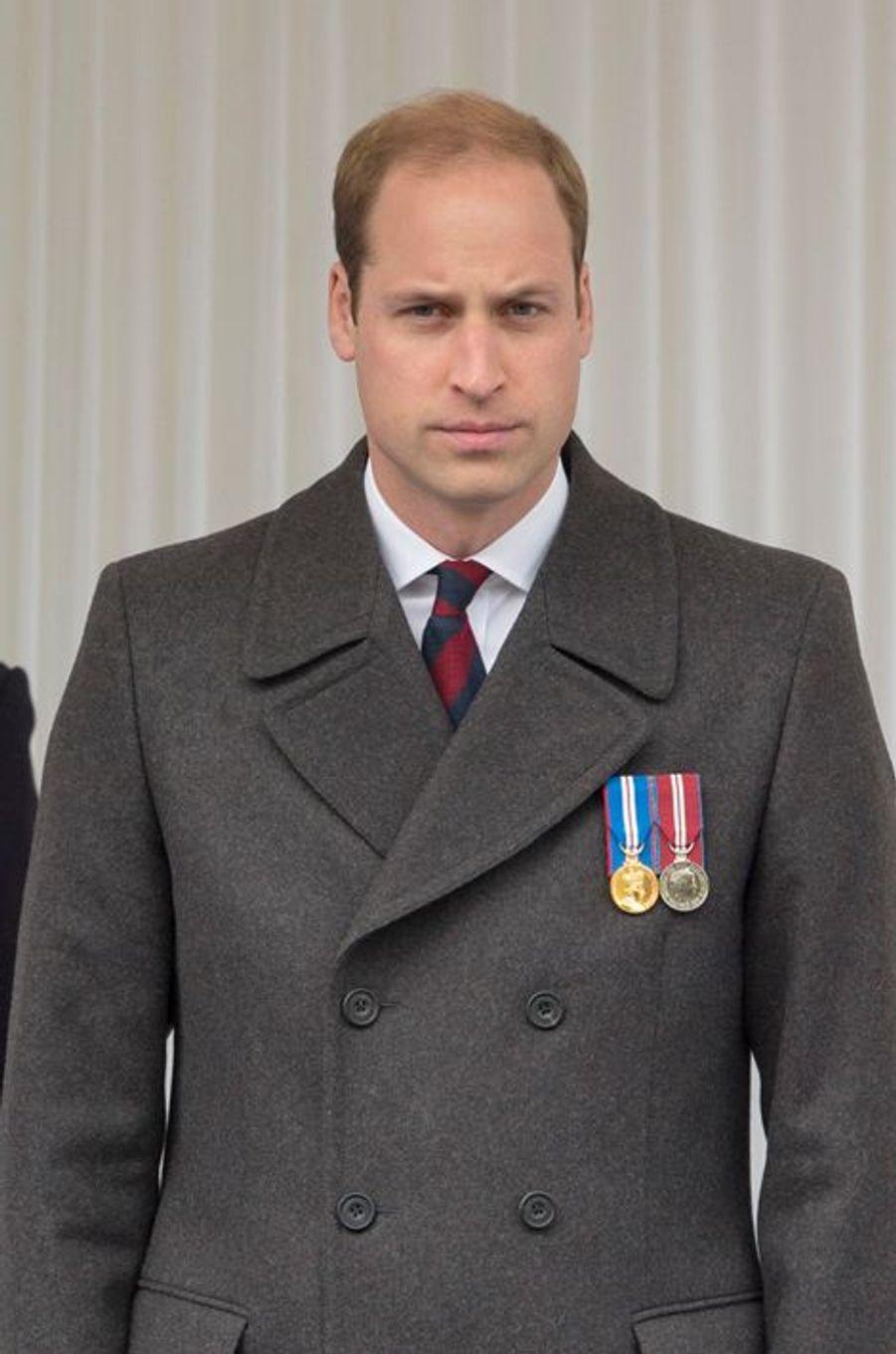 Le prince William au Cénotaphe à Londres, le 25 avril 2015