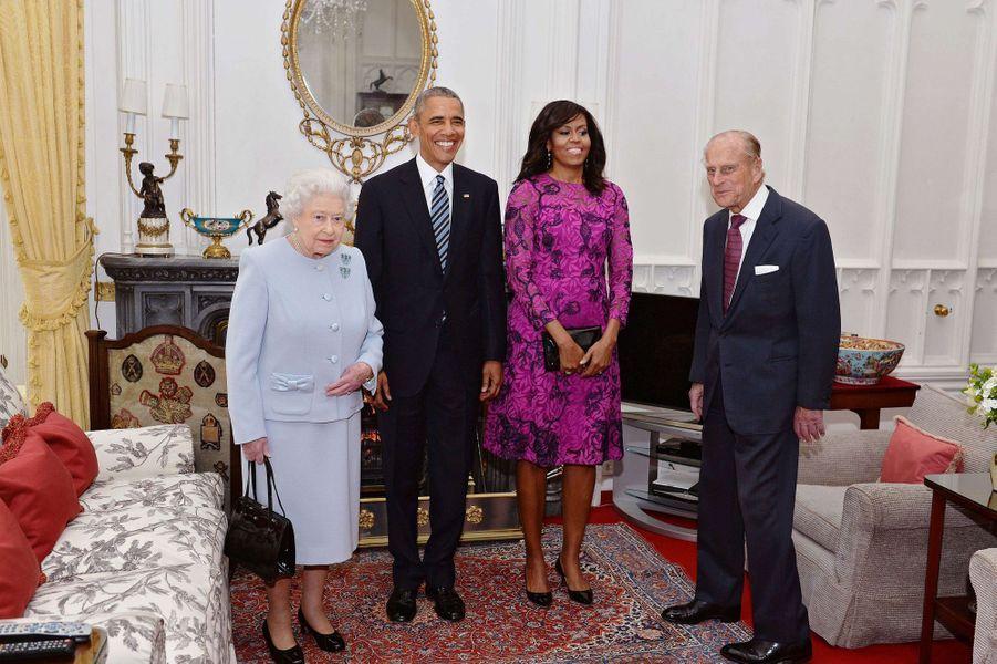 La reine Elizabeth II avec le président des Etats-Unis Barack Obama à Windsor, le 22 avril 2016