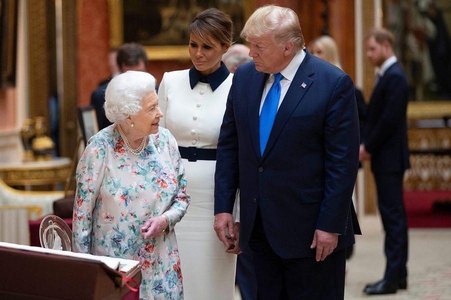 La reine Elizabeth II avec le président des Etats-Unis Donald Trump à Buckingham Palace, le 3 juin 2019