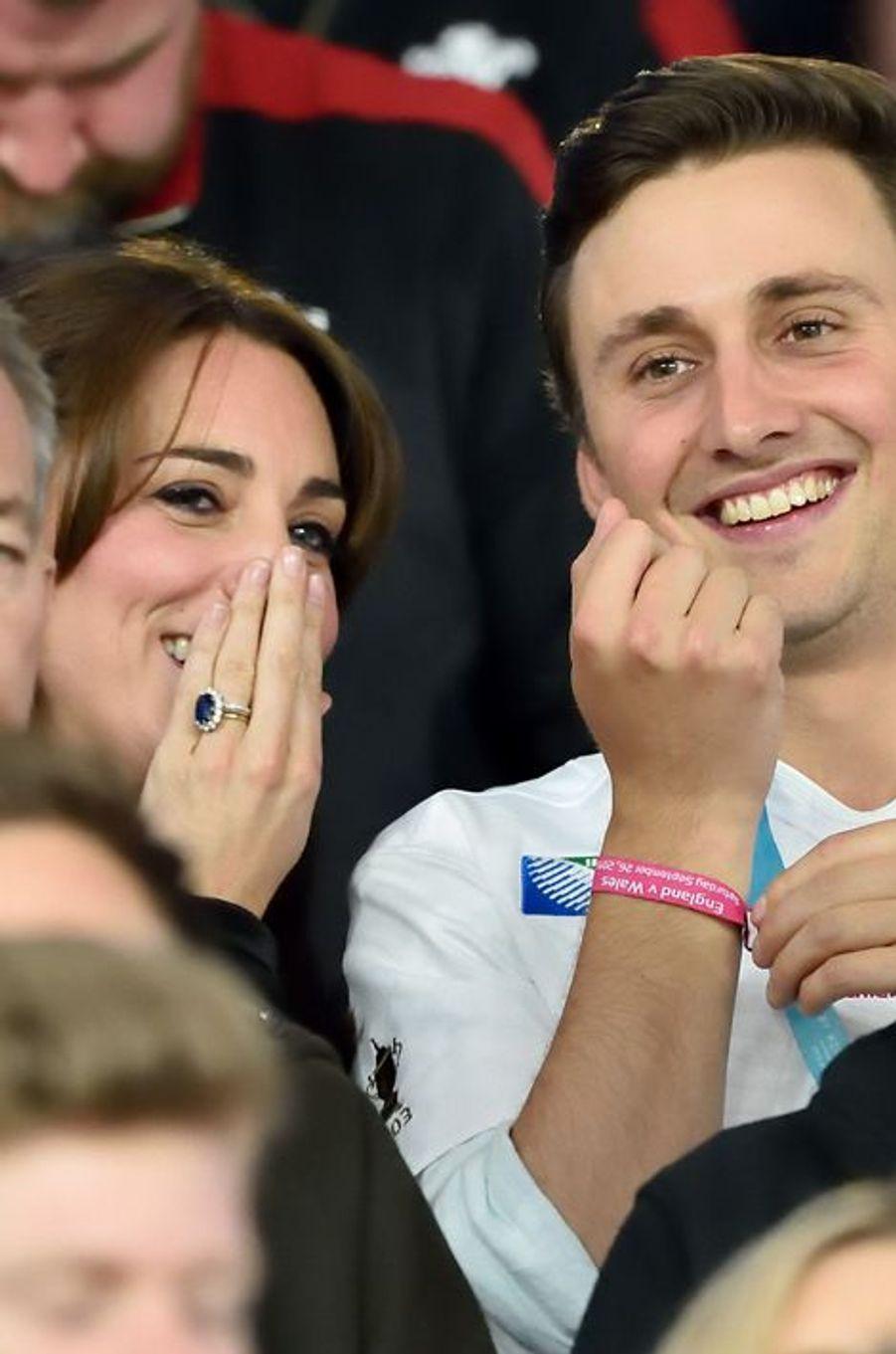 La duchesse Kate au stade de Twickenham à Londres, le 26 septembre 2015
