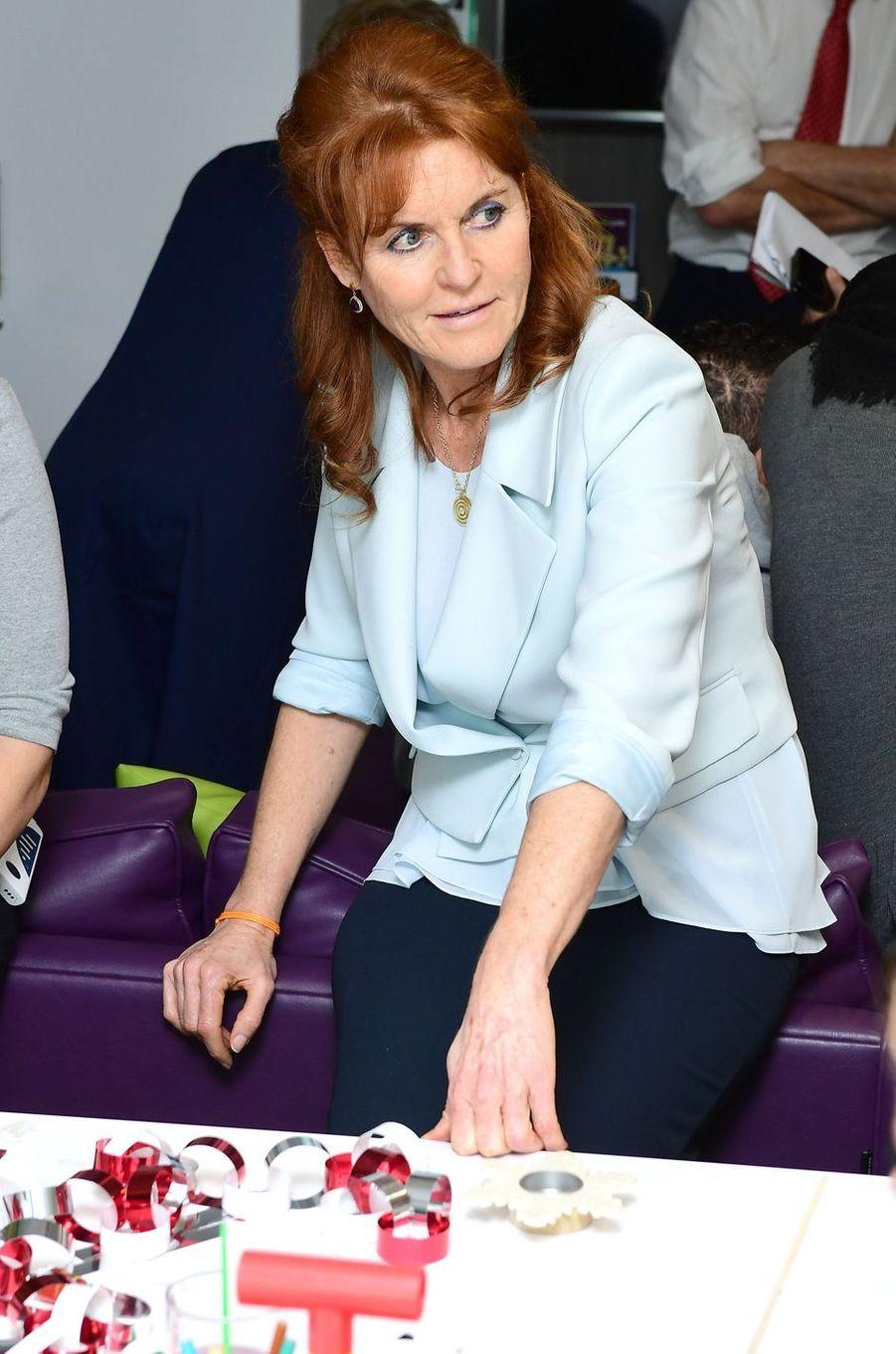 Sarah Ferguson à Londres, le 9 décembre 2016