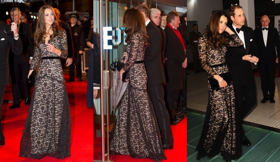 """En janvier, le duc et la duchesse de Cambridge étaient à la première londonienne de """"War Horse"""" de Steven Spielberg. Kate portait une robe époustouflante, signée Alice Temperley..."""