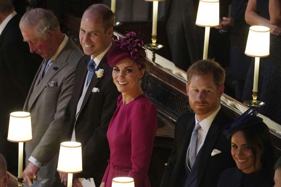 Charles, William, Kate, Harry et Meghan lors du mariage de la princesse Eugenie à Windsor le 12 octobre 2018