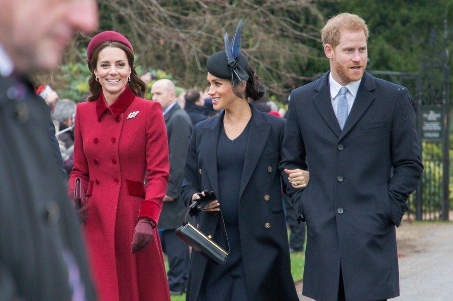 Kate, Meghan et Harry à Sandringham le 25 décembre 2018