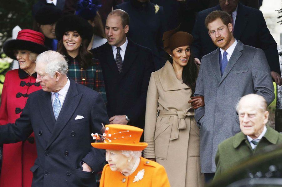 William, Kate, Meghan et Harry àSandringham avec la famille royale le 25 décembre 2017