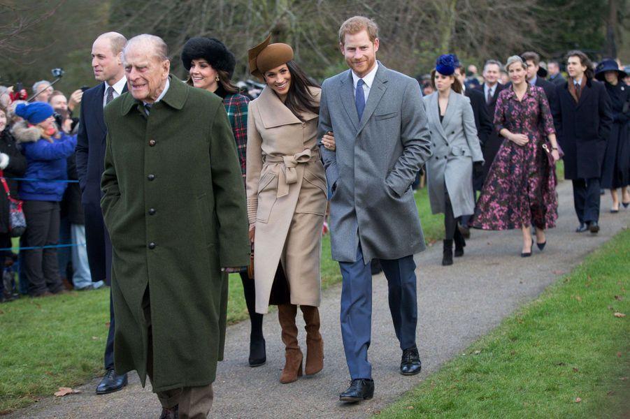 William, Kate, Meghan et Harry àSandringham le 25 décembre 2017