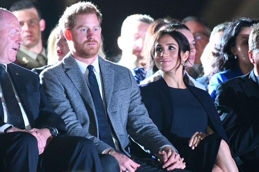 Harry et Meghan à l'opéra de Sydney, samedi.