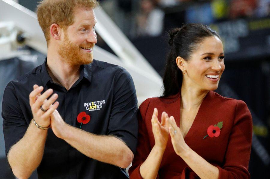 Le prince Harry et son épouse Meghan Markle aux Invictus Games samedi.