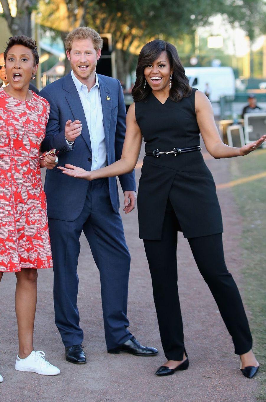 Le prince Harry aux Invictus Games avec Michelle Obama à Orlando, le 8 mai 2016