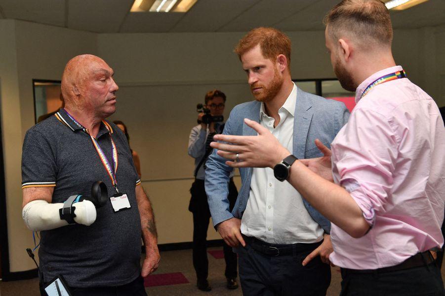 Le prince Harry àl'Université de Sheffield Hallamle 25 juillet 2019.