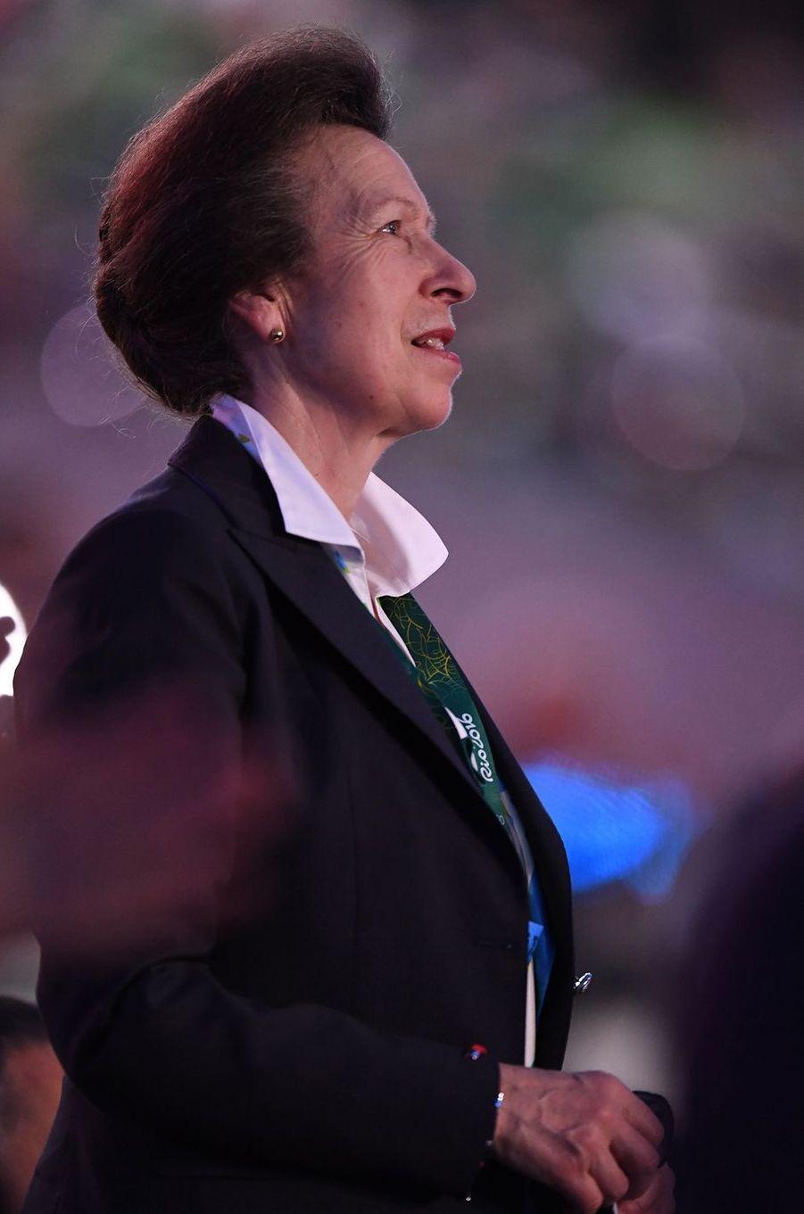 La princesse Anne lors de la cérémonie d'ouverture des JO de Rio, le 5 août 2016