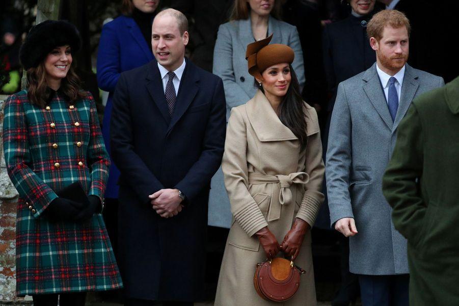 Invitée à fêter Noël avec la famille royale, le 25 décembre 2017.