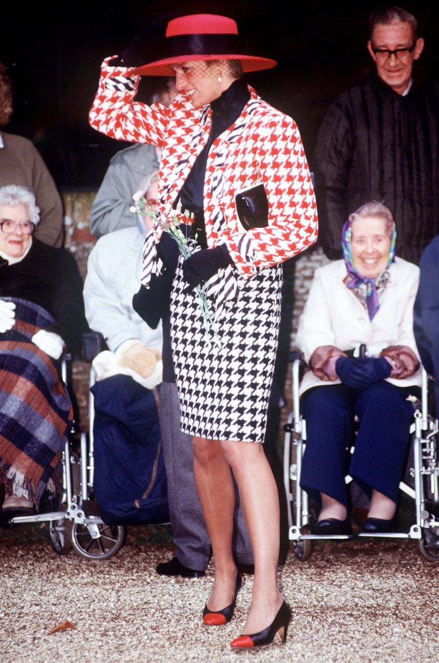 La princesse de Galles à Sandringham, le 23 décembre 1990