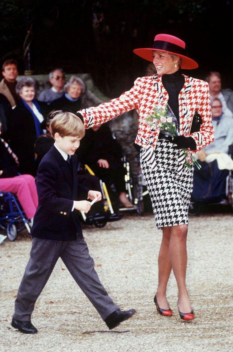 Lady Di à Sandringham, le 23 décembre 1990