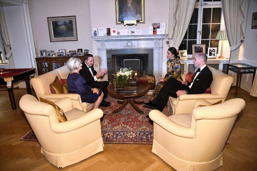 La duchesse Catherine de Cambridge et le prince William avec le Premier ministre suédois et sa femme à Stockholm, le 30 janvier 2018