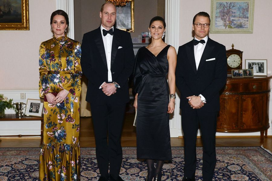 La duchesse Catherine de Cambridgeet le prince William avec la princesse Victoria de Suède et le prince consort Daniel à Stockholm, le 30 janvier 2018