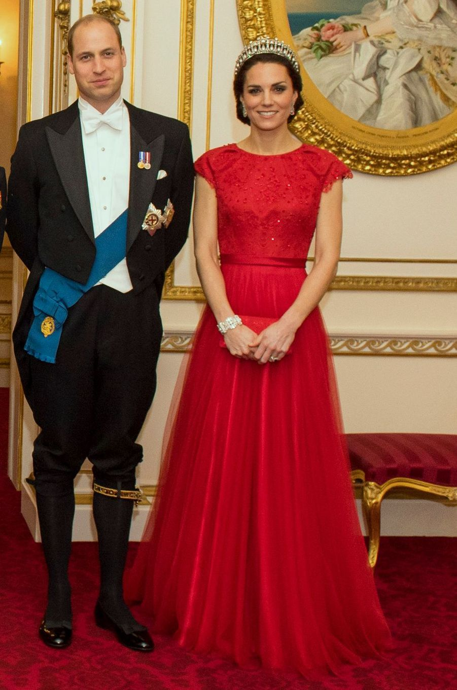 Le prince William et la duchesse Catherine de Cambridge à Buckingham Palace à Londres, le 8 décembre 2016