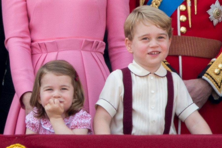 La princesse Charlotte et le prince George à Londres, le 17 juin 2017