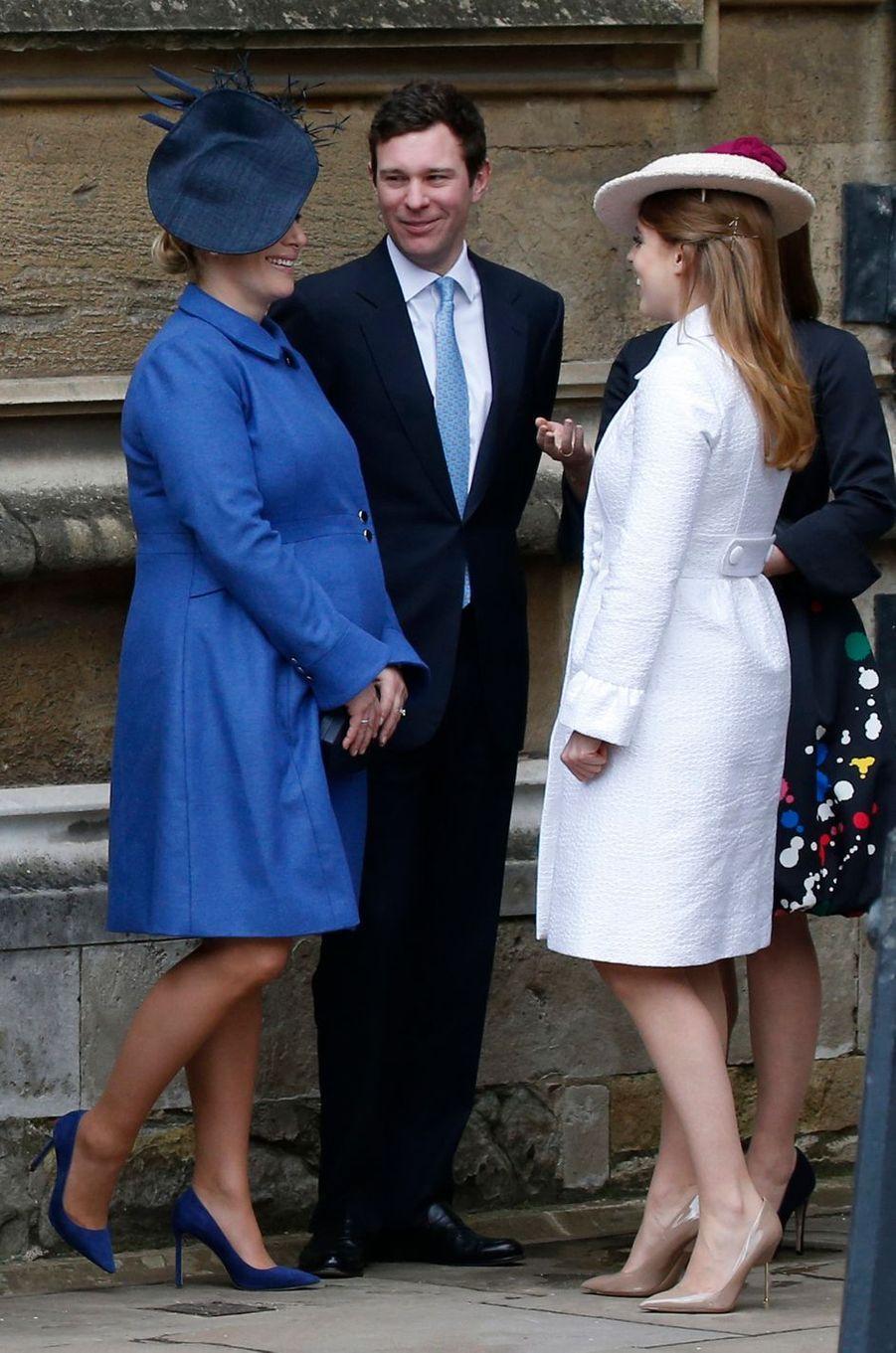 Zara Phillips et les princesses Beatrice et Eugenie d'York à Windsor, le 1er avril 2018