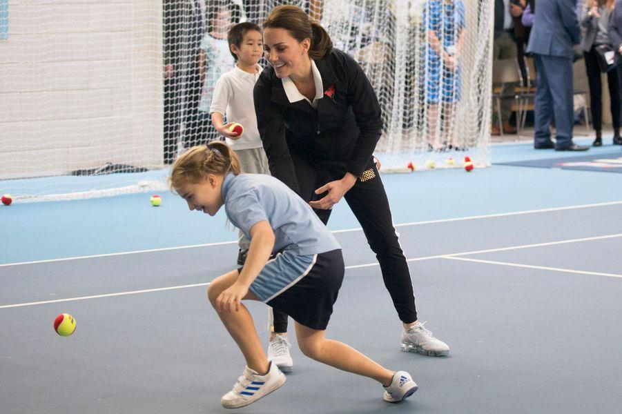 La duchesse Catherine de Cambridge au Centre national de tennis à Londres, le 31 octobre 2017