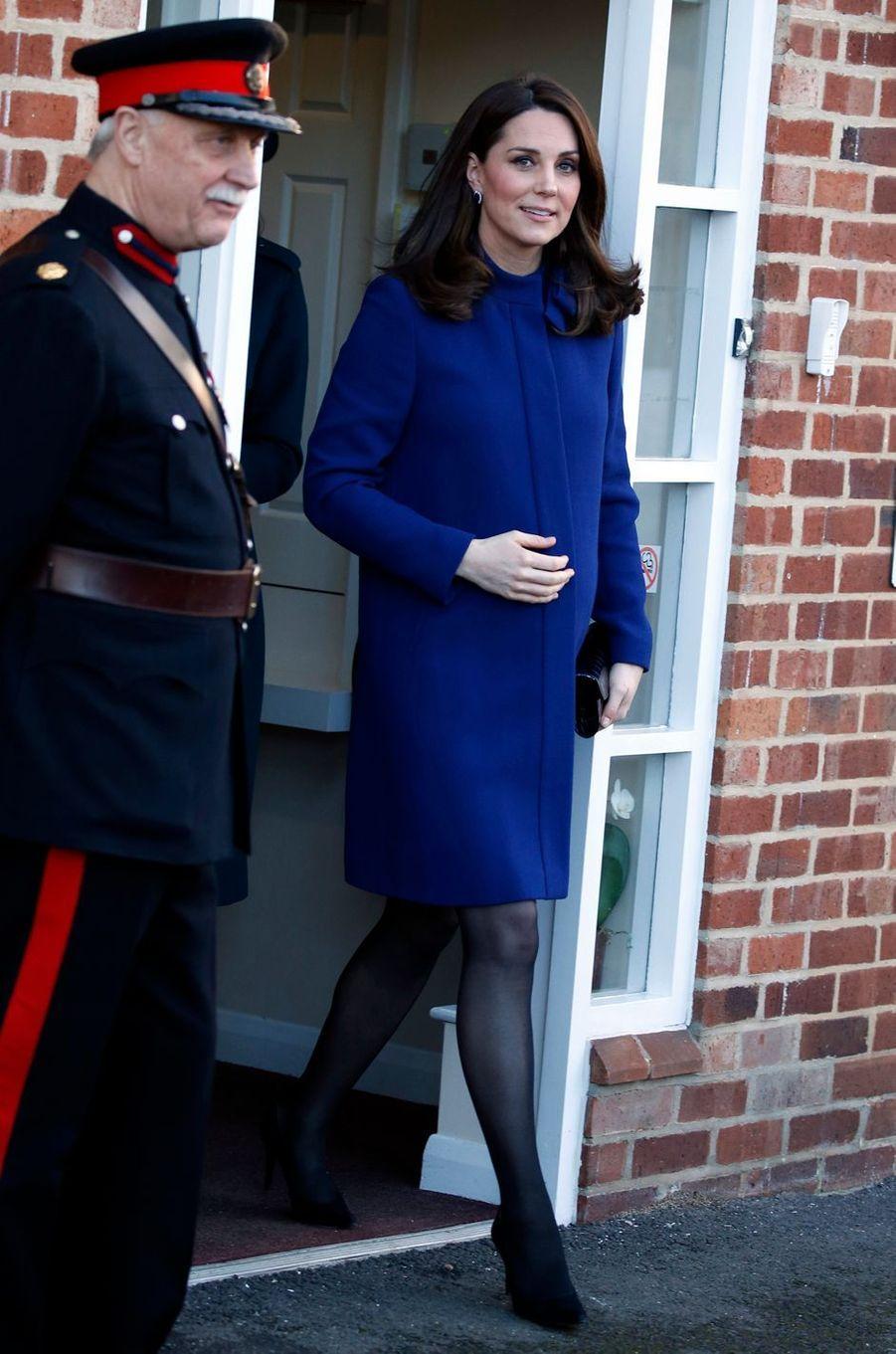 La duchesse Catherine de Cambridge dans un manteau Goat à Wickford, le 7 février 2018