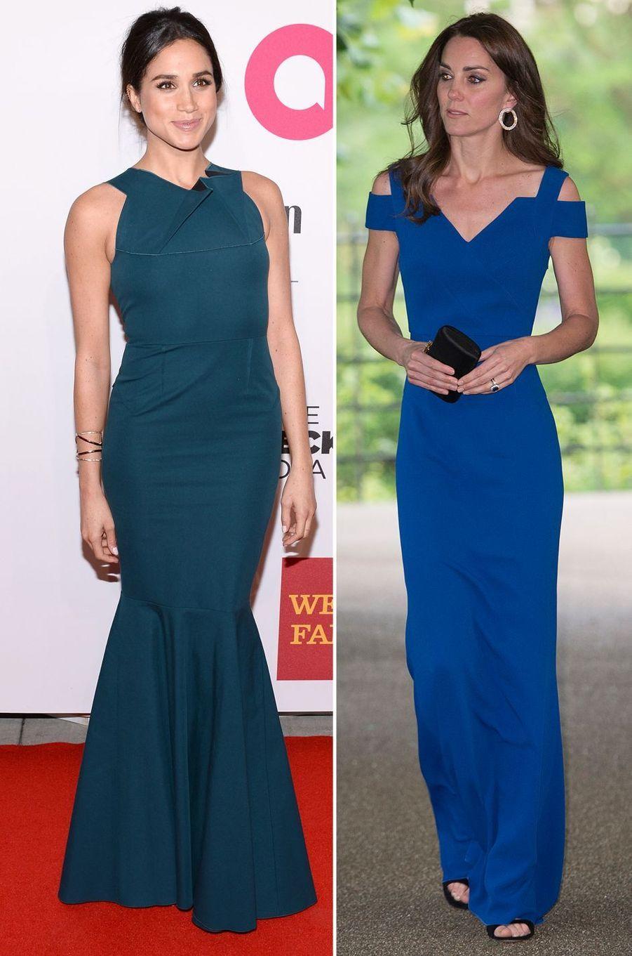 Meghan Markle le 29 octobre 2014 et Kate Middleton le 9 juin 2016