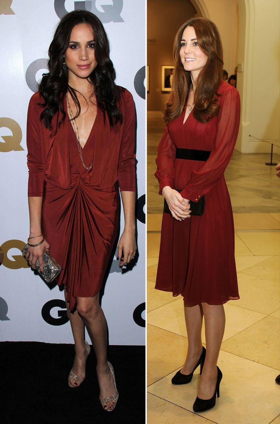 Meghan Markle le 13 novembre 2012 et Kate Middleton le 11 janvier 2013