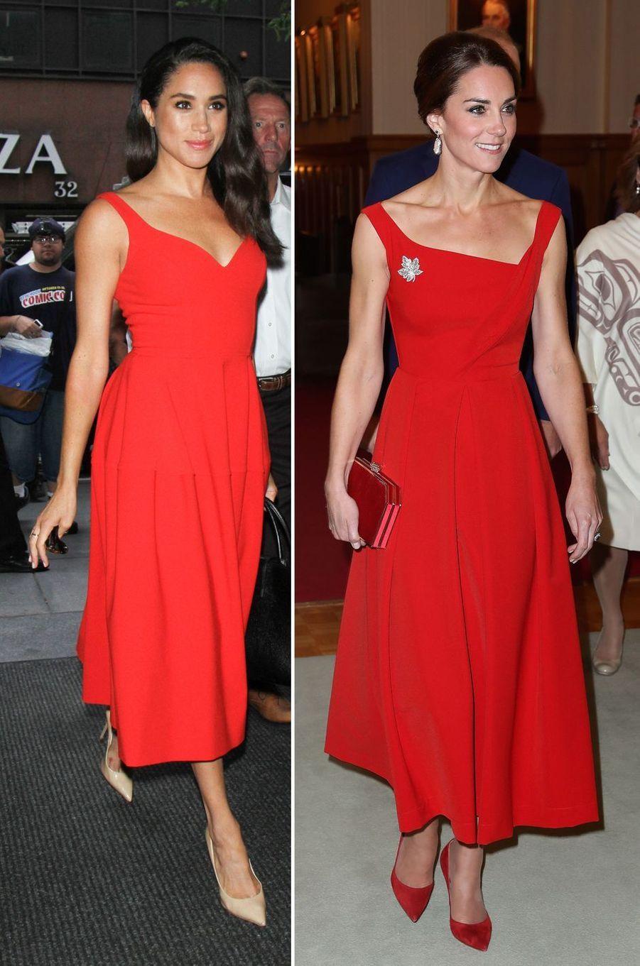 Meghan Markle le 14 juillet 2016 et Kate Middleton le 26 septembre 2016