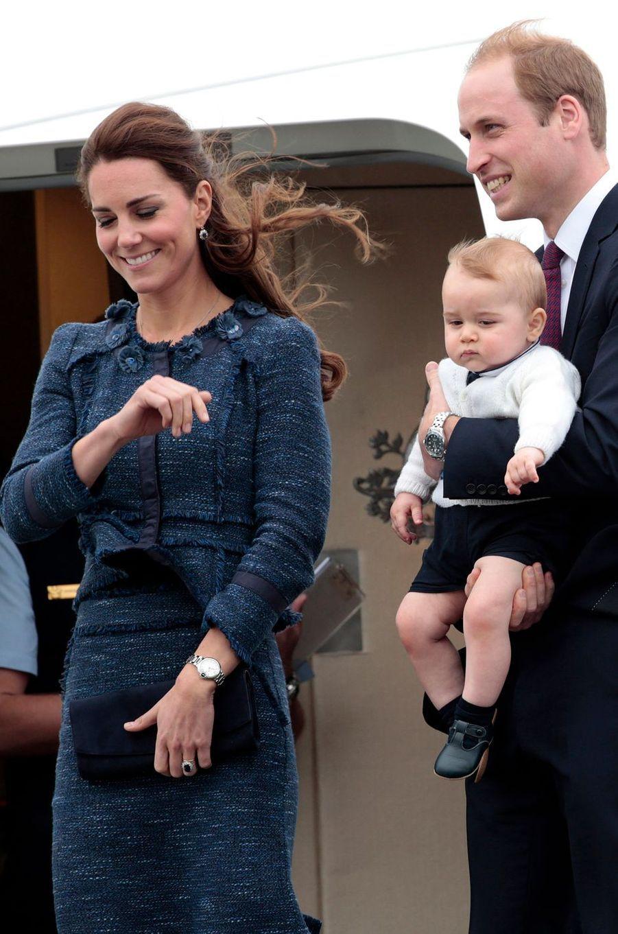 La duchesse de Cambridge née Kate Middleton en Rebecca Taylor à Wellington, le 16 avril 2014
