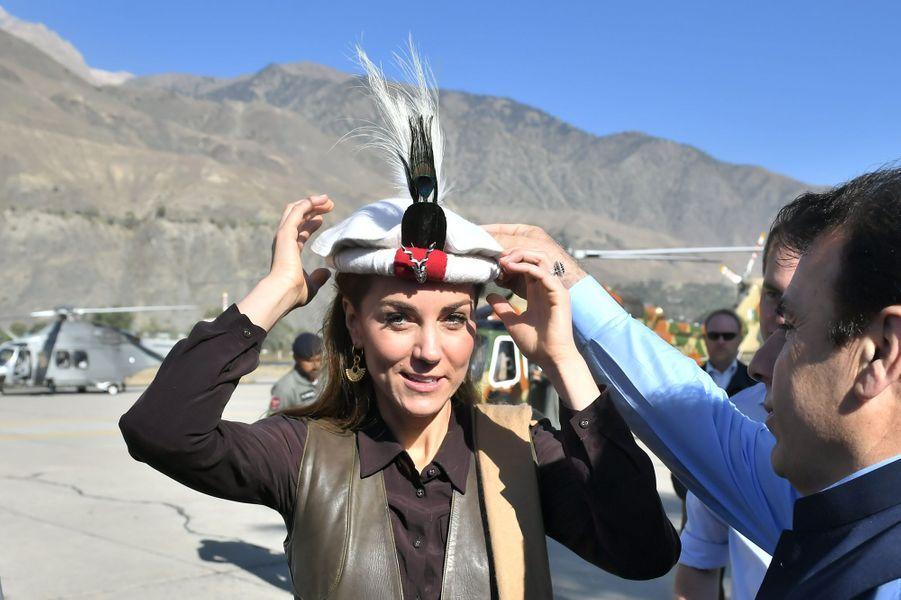 Kate Middleton à Chitral,dans la province de Khyber Pakhtunkhwa au nord du Pakistan, le 16 octobre 2019