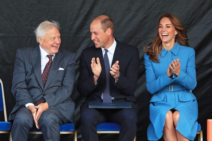David Attenborough,le prince William et Kate Middletonà la cérémonie de baptême du nouveaunavire océanographique, leRRS Sir David Attenborough, àBirkenhead le 26 septembre 2019