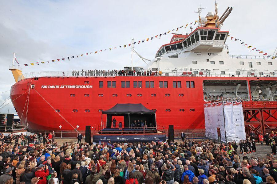 La cérémonie de baptême du nouveaunavire océanographique, leRRS Sir David Attenborough, àBirkenhead le 26 septembre 2019