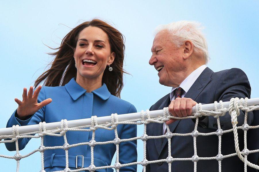Kate Middleton etDavid Attenboroughà la cérémonie de baptême du nouveaunavire océanographique, leRRS Sir David Attenborough, àBirkenhead le 26 septembre 2019