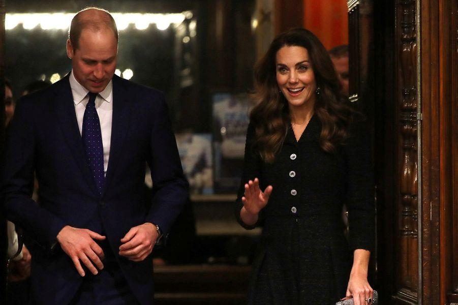Kate Middleton et le prince Williamse rend au théâtre Noël Coward pour voir une pièce à propos de la santé mentale,au profit de la «Royal Foundation», à Londres, le 25 février 2020.