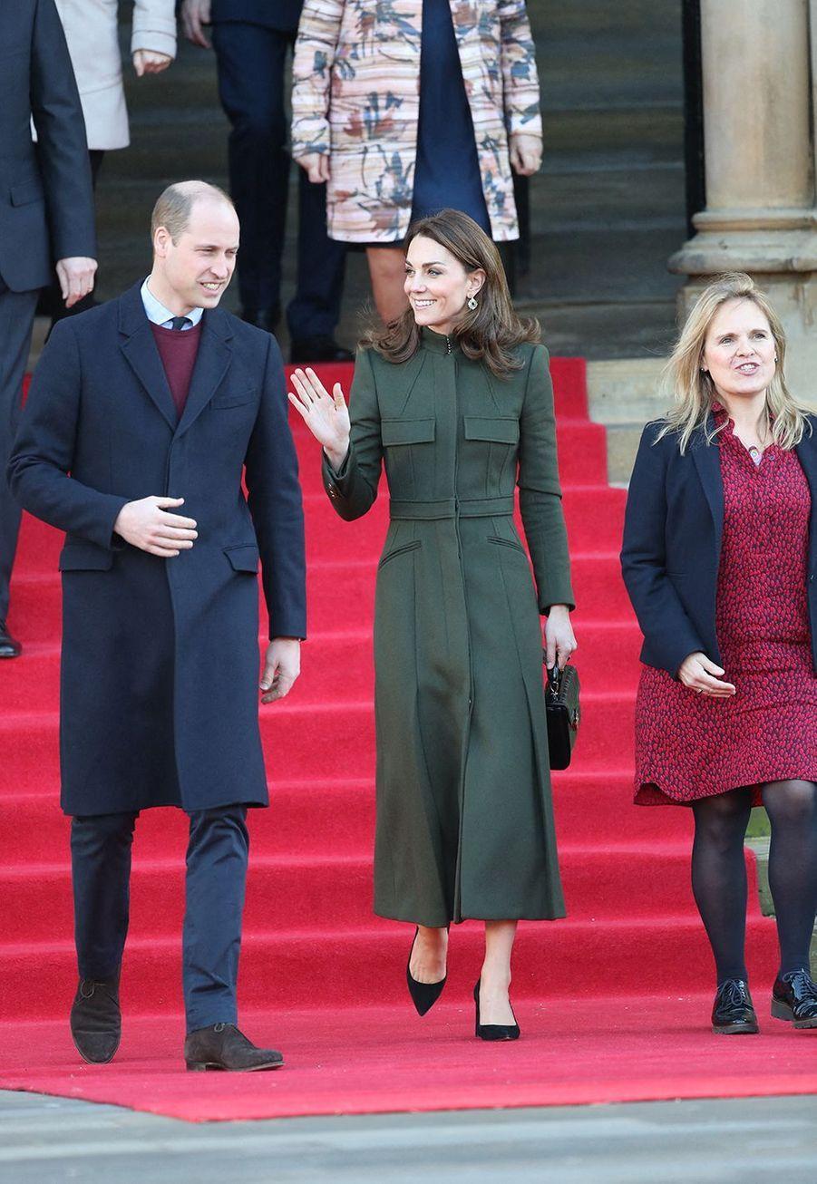 Kate Middleton et le prince Williamlors de leur visite à Bradford le 15 janvier 2020.