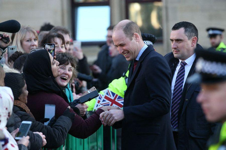 Le prince Williamlors de sa visite à Bradford avec Kate Middleton le 15 janvier 2020.