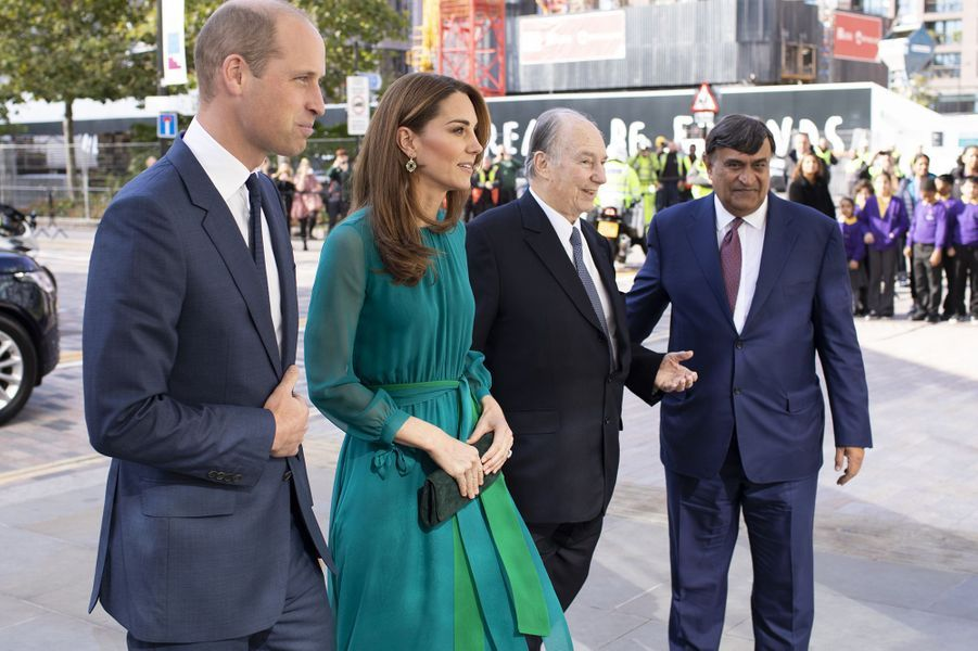 Kate Middleton, le prince William et l'Aga Khanà Londres le 2 octobre 2019