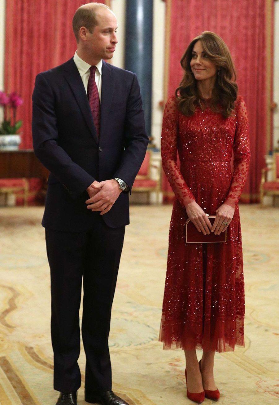 Kate Middleton et le prince William à Buckingham Palace lors du sommet Grande-Bretagne-Afrique sur les investissements, lundi 20 janvier 2020.