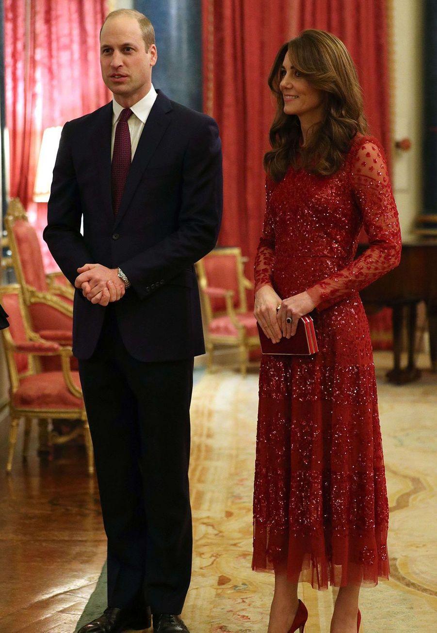 Kate Middleton et le prince Williamà Buckingham Palace lors du sommet Grande-Bretagne-Afrique sur les investissements, lundi 20 janvier 2020.