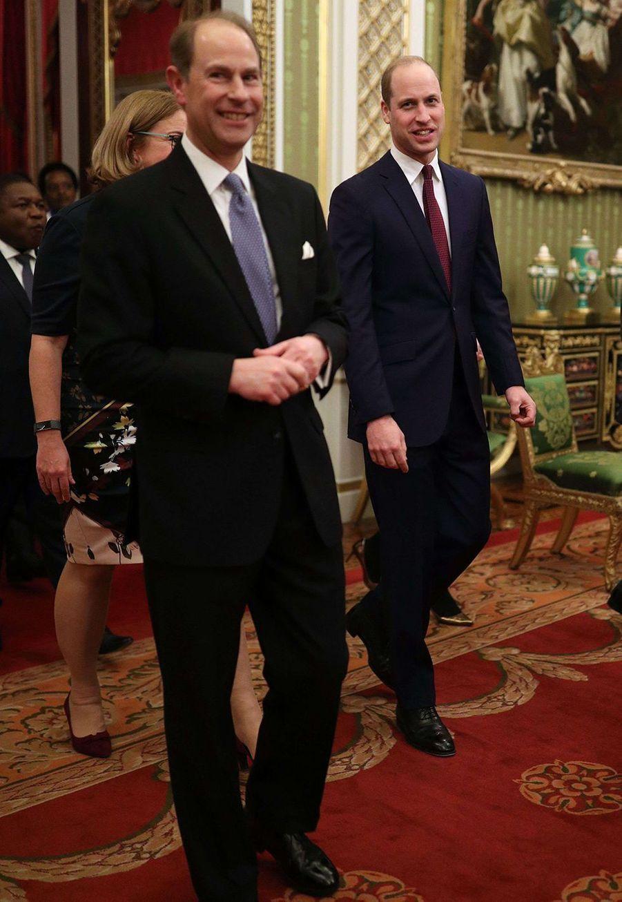 Le prince William et le prince Edwardà Buckingham Palace lors du sommet Grande-Bretagne-Afrique sur les investissements, lundi 20 janvier 2020.