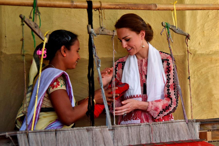 La duchesse Catherine de Cambridge au parc national de Kaziranga, le 13 avril 2016