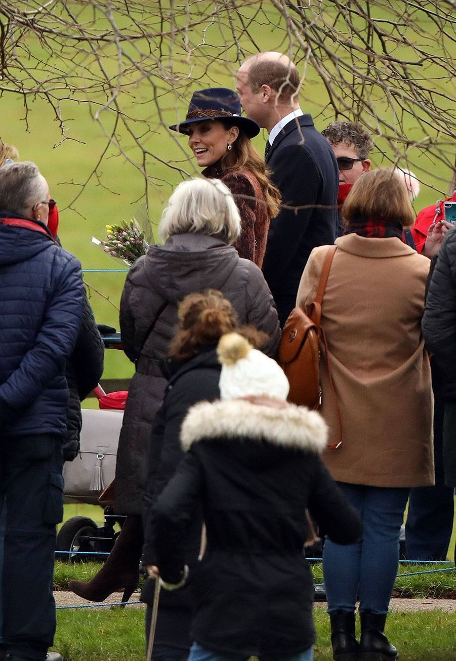 Kate Middleton et le prince William à la sortie de la messe à Sandringham le 5 janvier 2020