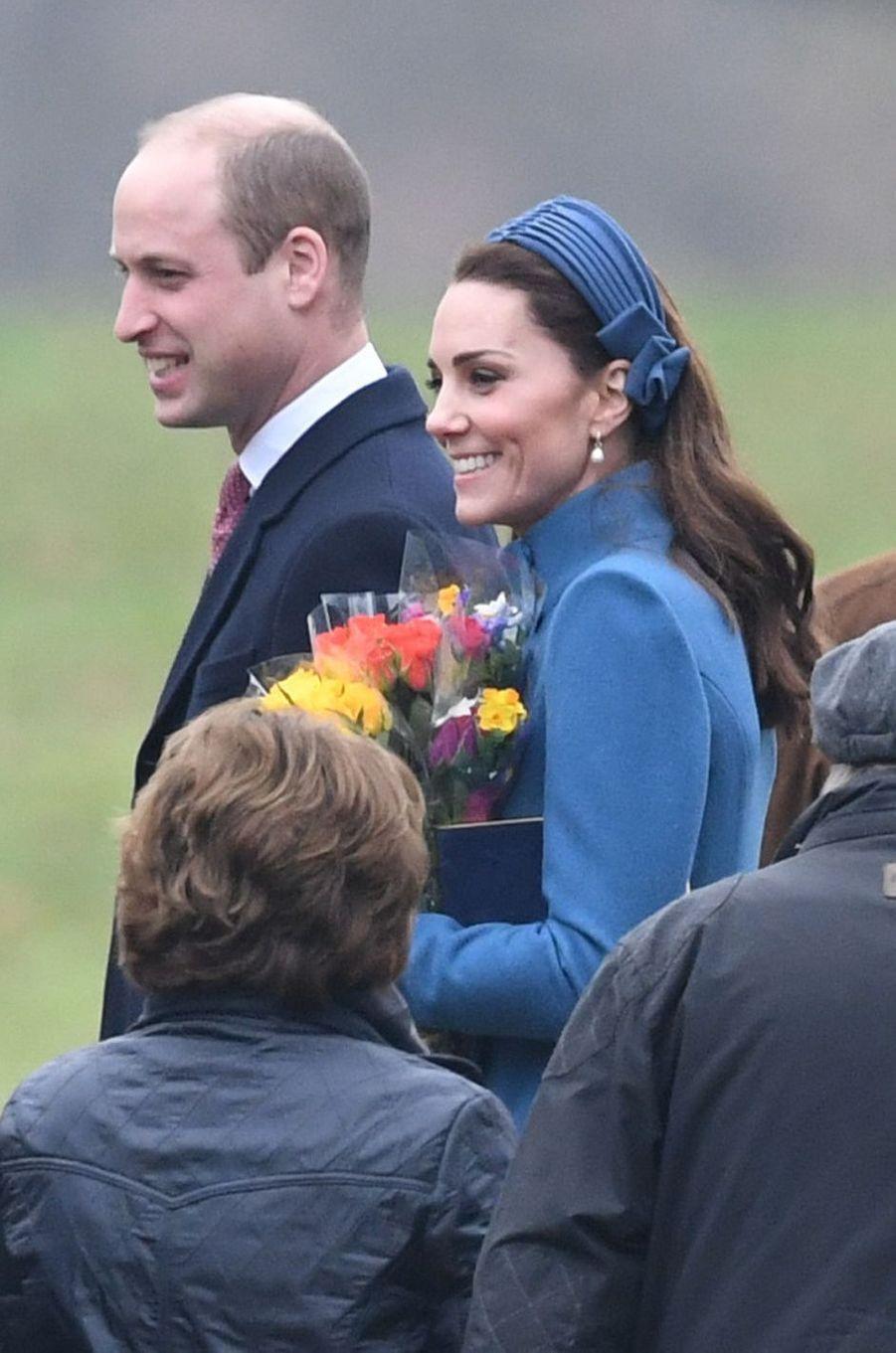 Kate Middleton, duchesse de Cambridge, avec un headband à Sandringham le 6 janvier 2019