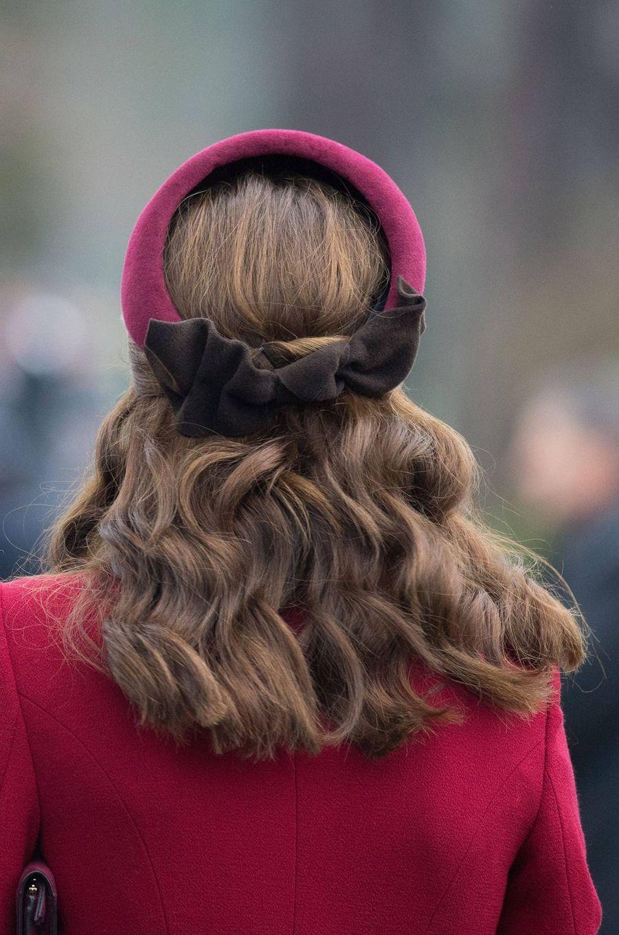 Kate Middleton, duchesse de Cambridge, de dos, à Sandringham le 25 décembre 2018